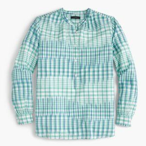 J. Crew TALL Gingham Popover Top